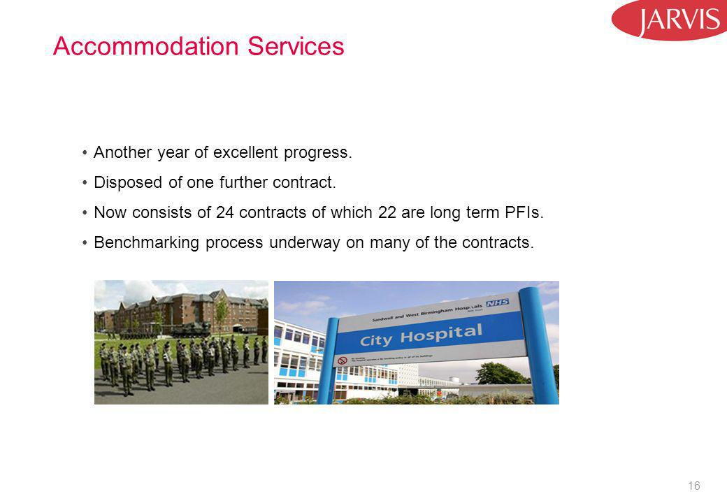 16 Accommodation Services Another year of excellent progress. Disposed of one further contract. Now consists of 24 contracts of which 22 are long term