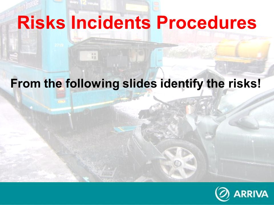 From the following slides identify the risks! Risks Incidents Procedures
