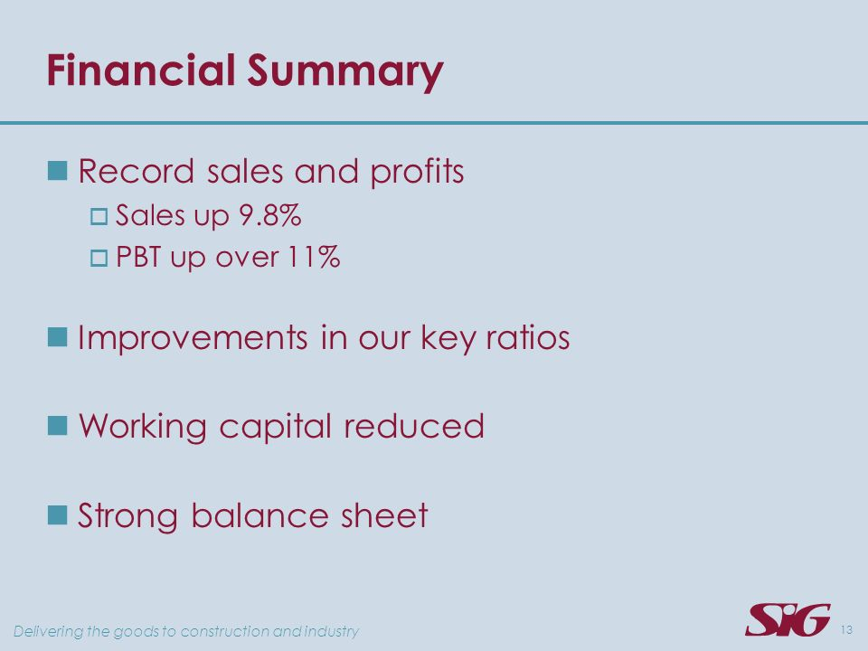 Delivering the goods to construction and industry 13 Financial Summary Record sales and profits Sales up 9.8% PBT up over 11% Improvements in our key ratios Working capital reduced Strong balance sheet