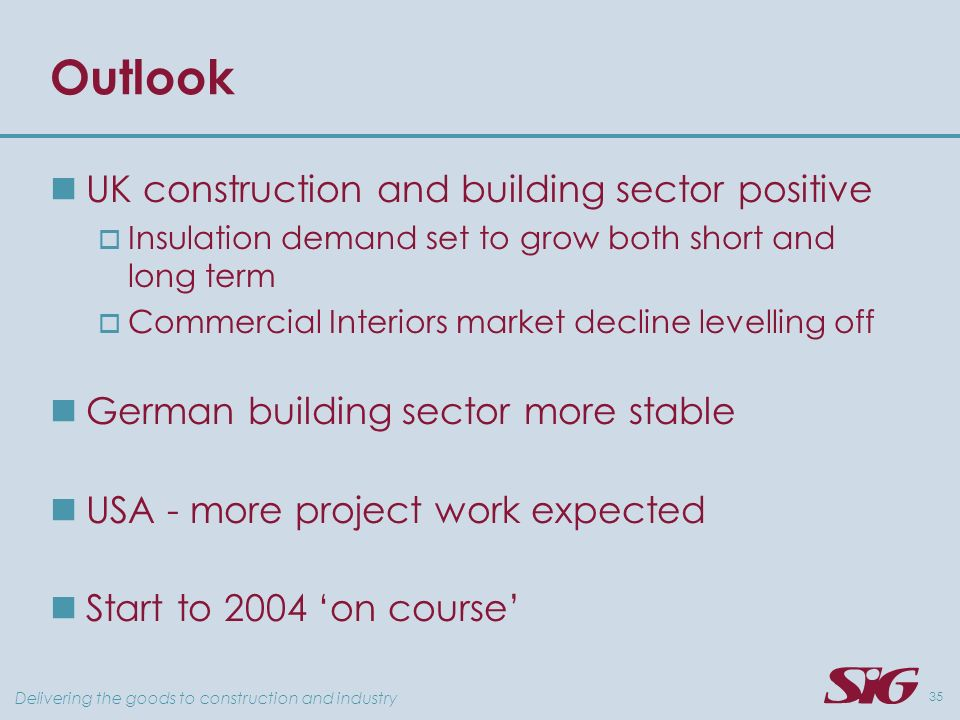 Delivering the goods to construction and industry 35 Outlook UK construction and building sector positive Insulation demand set to grow both short and long term Commercial Interiors market decline levelling off German building sector more stable USA - more project work expected Start to 2004 on course