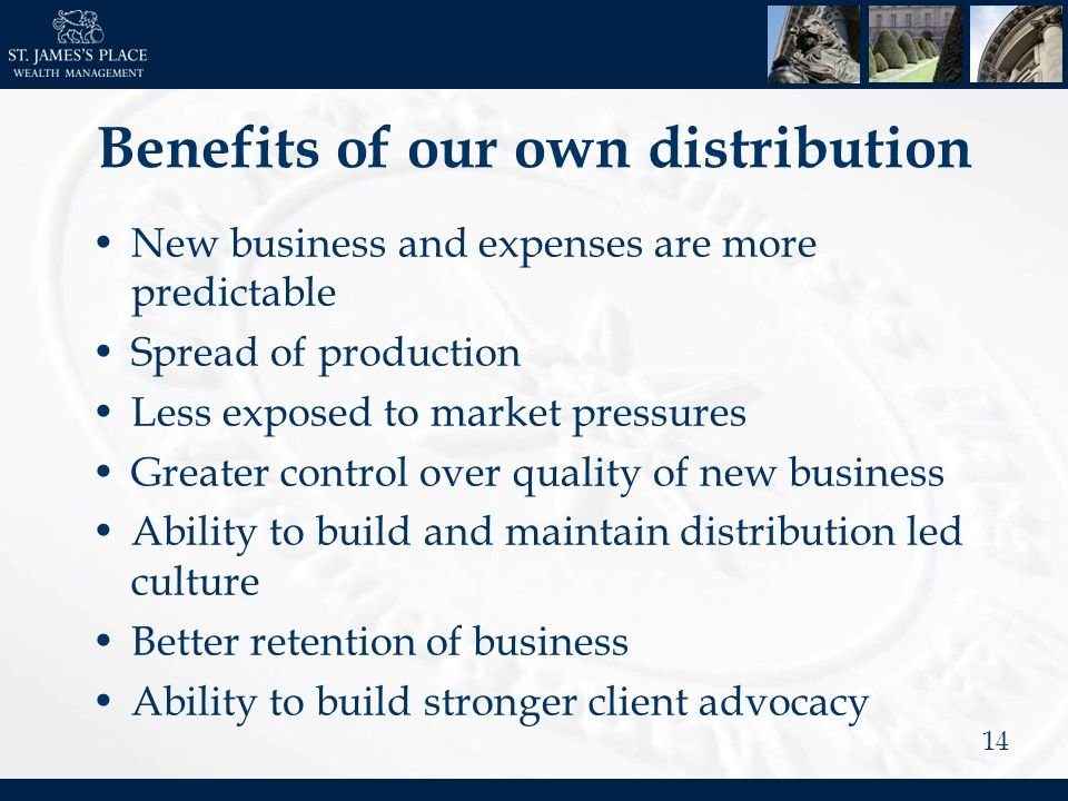 14 Benefits of our own distribution New business and expenses are more predictable Spread of production Less exposed to market pressures Greater control over quality of new business Ability to build and maintain distribution led culture Better retention of business Ability to build stronger client advocacy