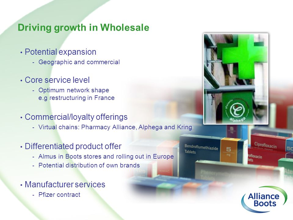 Driving growth in Wholesale Potential expansion - Geographic and commercial Core service level - Optimum network shape e.g restructuring in France Com