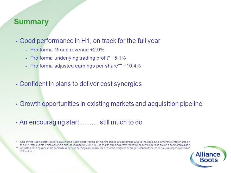 Summary Good performance in H1, on track for the full year - Pro forma Group revenue +2.9% - Pro forma underlying trading profit* +5.1% - Pro forma ad
