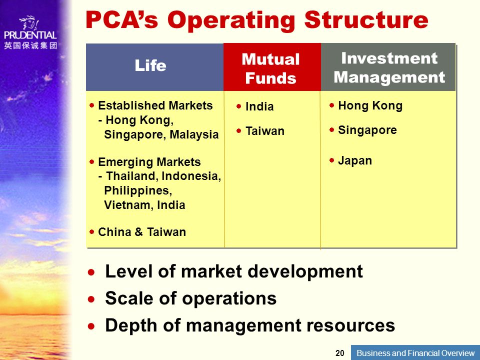 Business and Financial Overview PCAs Operating Structure Level of market development Scale of operations Depth of management resources Established Mar