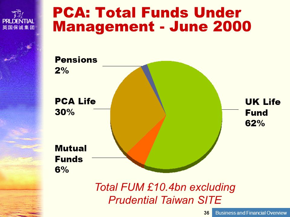Business and Financial Overview PCA: Total Funds Under Management - June 2000 UK Life Fund 62% Pensions 2% PCA Life 30% Mutual Funds 6% Total FUM £10.