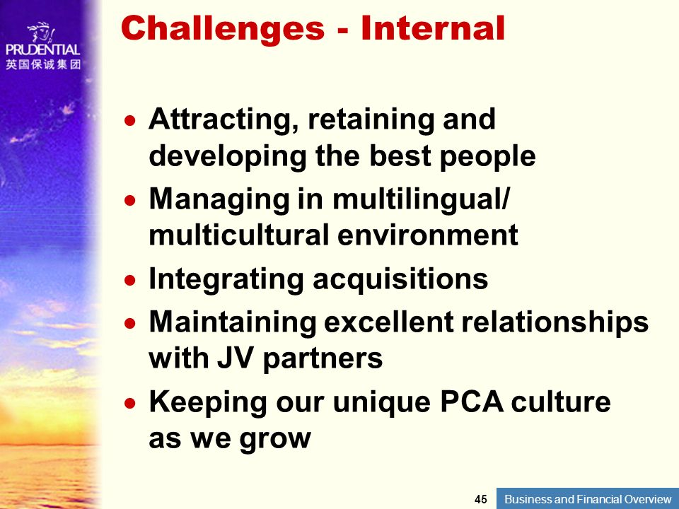 Business and Financial Overview Challenges - Internal Attracting, retaining and developing the best people Managing in multilingual/ multicultural env
