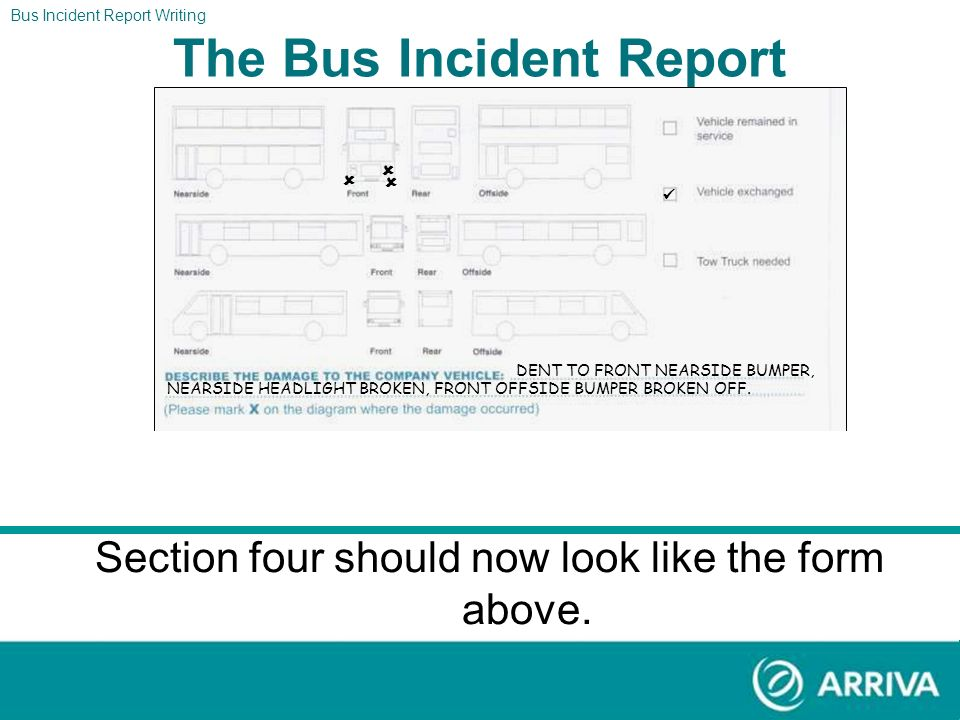 The Report After this accident there were no injuries and the bus driver was able to finish the duty. Using the information above please fill out sect