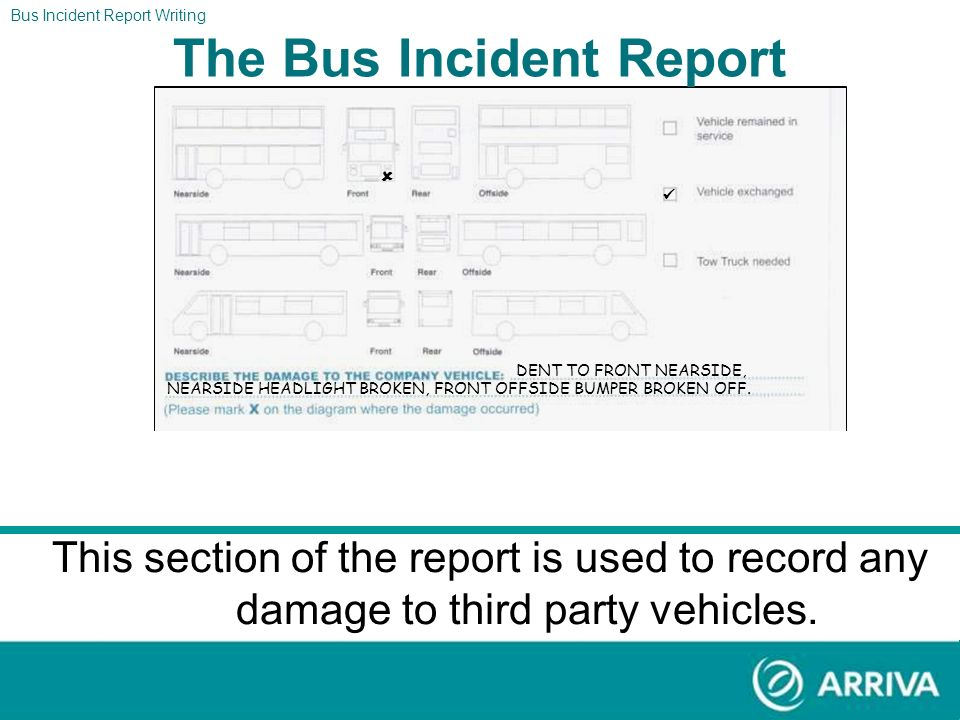 The Report Bus Incident Report Writing The Bus Incident Report Section four should now look like the form above. DENT TO FRONT NEARSIDE BUMPER, NEARSI