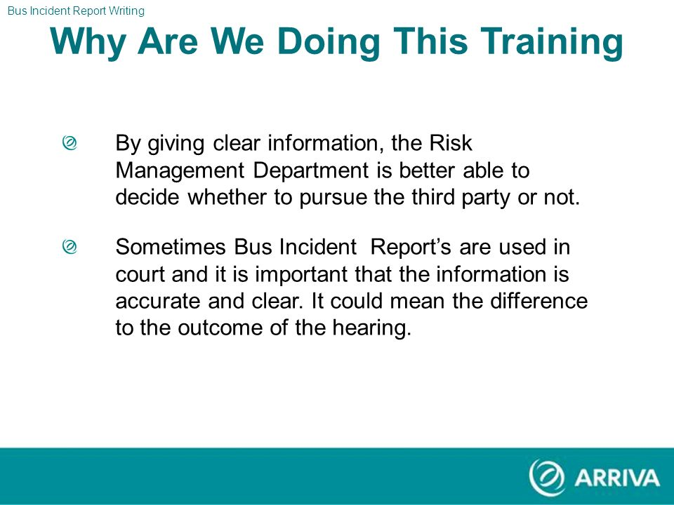 Bus Incident Report Writing Title Page