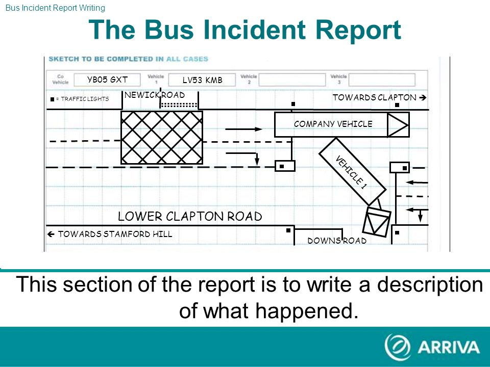 Bus Incident Report Writing The Report The Bus Incident Report Section eleven should now look like the form above. BECKMEAD DOWNS ROAD STREATHAM HIGH