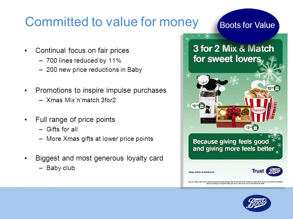 Committed to value for money Continual focus on fair prices –700 lines reduced by 11% –200 new price reductions in Baby Promotions to inspire impulse