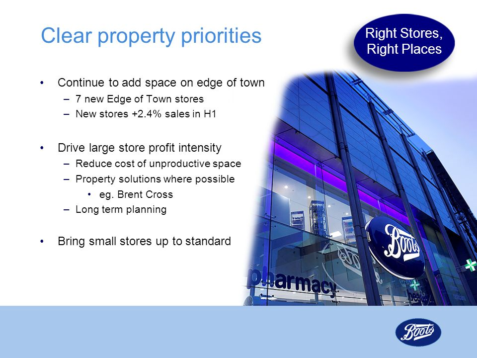Clear property priorities Continue to add space on edge of town –7 new Edge of Town stores –New stores +2.4% sales in H1 Drive large store profit inte