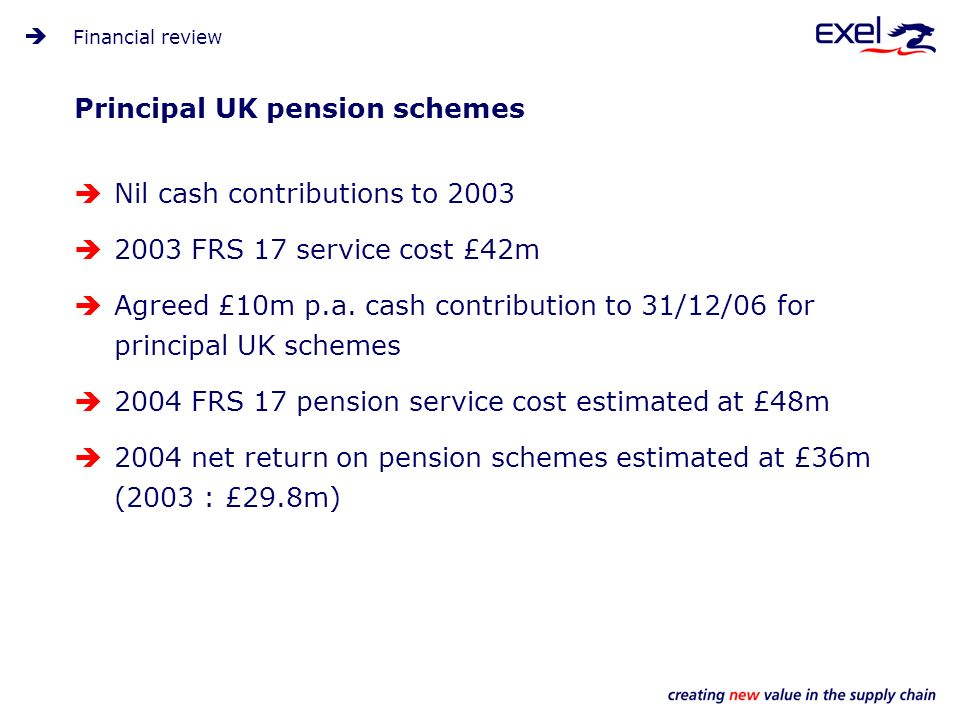 Principal UK pension schemes Nil cash contributions to 2003 2003 FRS 17 service cost £42m Agreed £10m p.a.