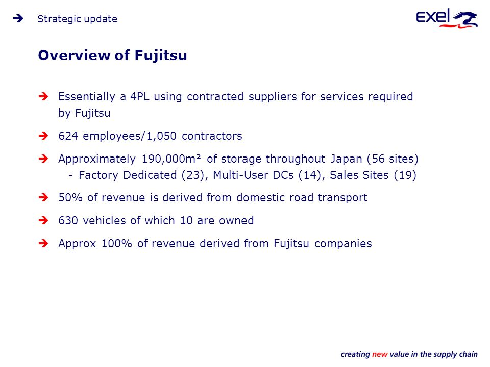 Strategic update Essentially a 4PL using contracted suppliers for services required by Fujitsu 624 employees/1,050 contractors Approximately 190,000m² of storage throughout Japan (56 sites) -Factory Dedicated (23), Multi-User DCs (14), Sales Sites (19) 50% of revenue is derived from domestic road transport 630 vehicles of which 10 are owned Approx 100% of revenue derived from Fujitsu companies Overview of Fujitsu