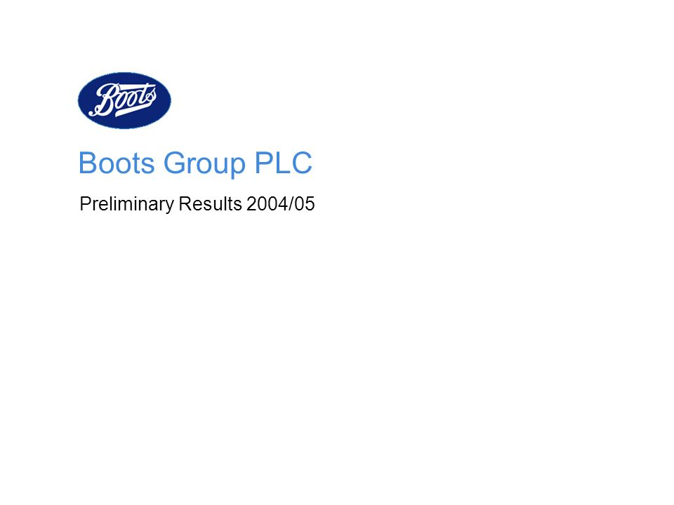 Boots Group PLC Preliminary Results 2004/05