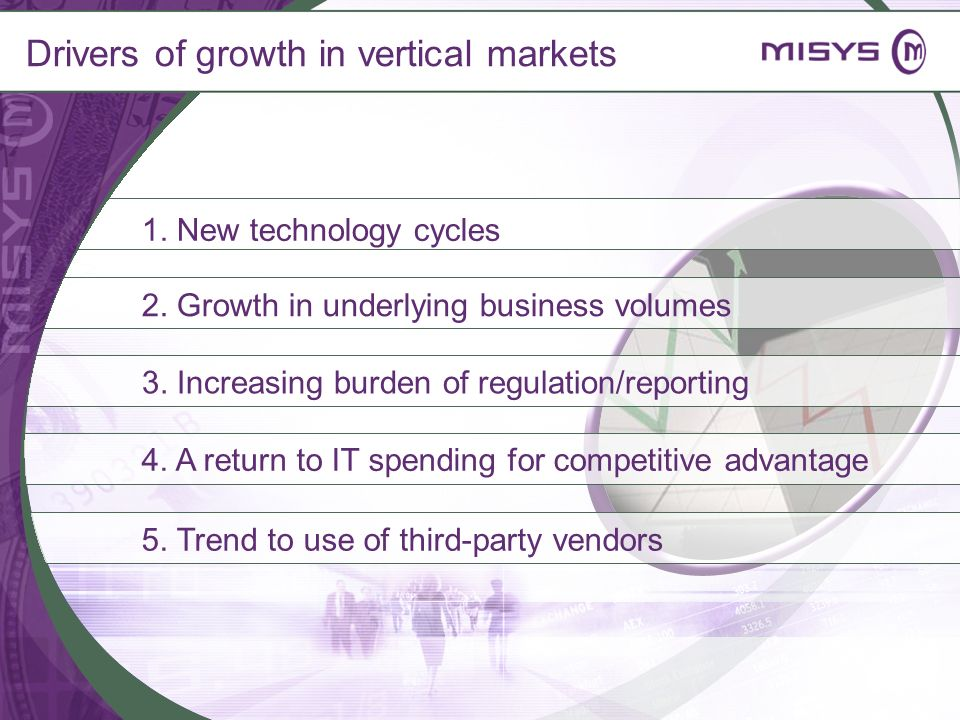 1. New technology cycles 2. Growth in underlying business volumes 4. A return to IT spending for competitive advantage 3. Increasing burden of regulat