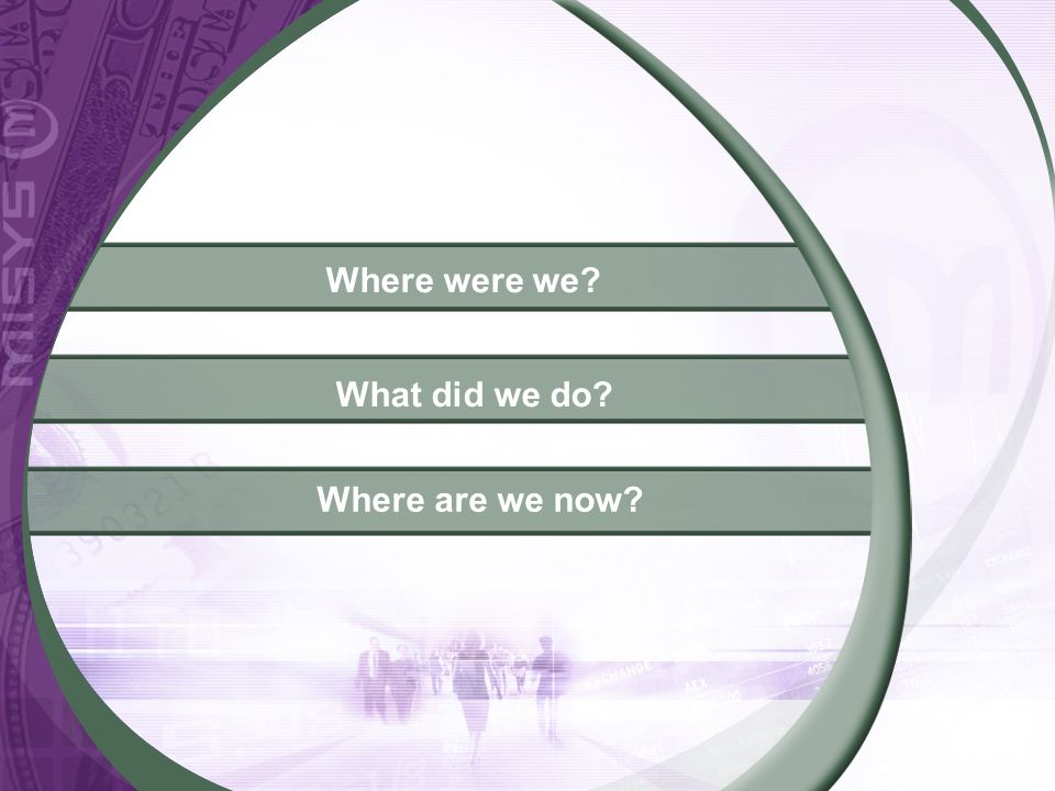 Where were we? What did we do? Where are we now?