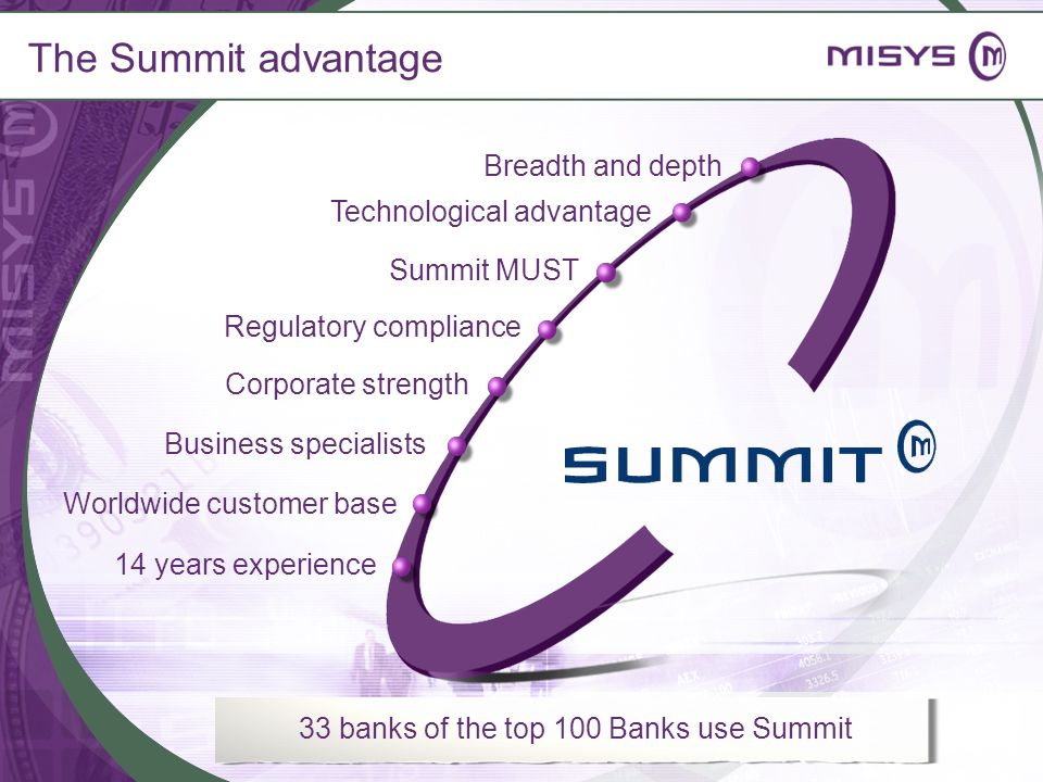 The Summit advantage Breadth and depth Regulatory compliance Corporate strength Business specialists Technological advantage 14 years experience 33 ba