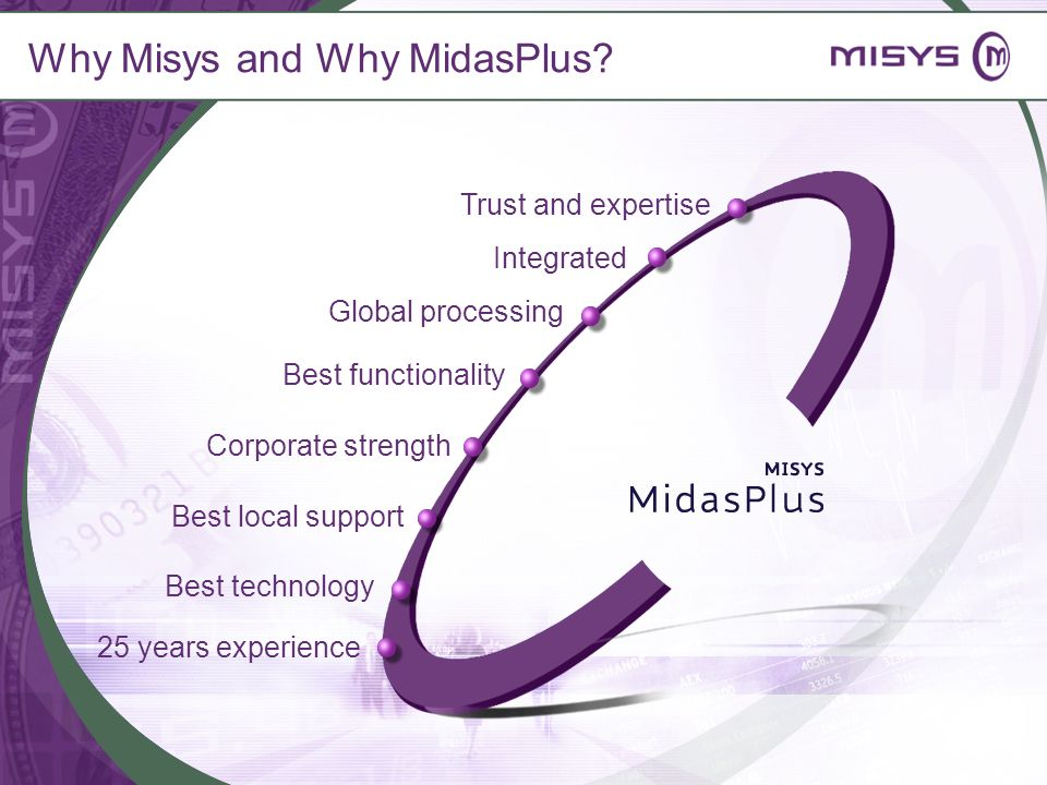 Why Misys and Why MidasPlus? Trust and expertise Global processing Best functionality Corporate strength Best local support Integrated Best technology