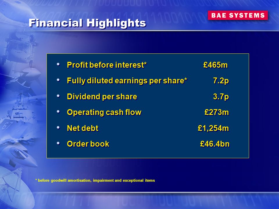 Financial Highlights Profit before interest* £465m Profit before interest* £465m Fully diluted earnings per share* 7.2p Fully diluted earnings per share* 7.2p Dividend per share 3.7p Dividend per share 3.7p Operating cash flow £273m Operating cash flow £273m Net debt £1,254m Net debt £1,254m Order book £46.4bn Order book £46.4bn Profit before interest* £465m Profit before interest* £465m Fully diluted earnings per share* 7.2p Fully diluted earnings per share* 7.2p Dividend per share 3.7p Dividend per share 3.7p Operating cash flow £273m Operating cash flow £273m Net debt £1,254m Net debt £1,254m Order book £46.4bn Order book £46.4bn * before goodwill amortisation, impairment and exceptional items
