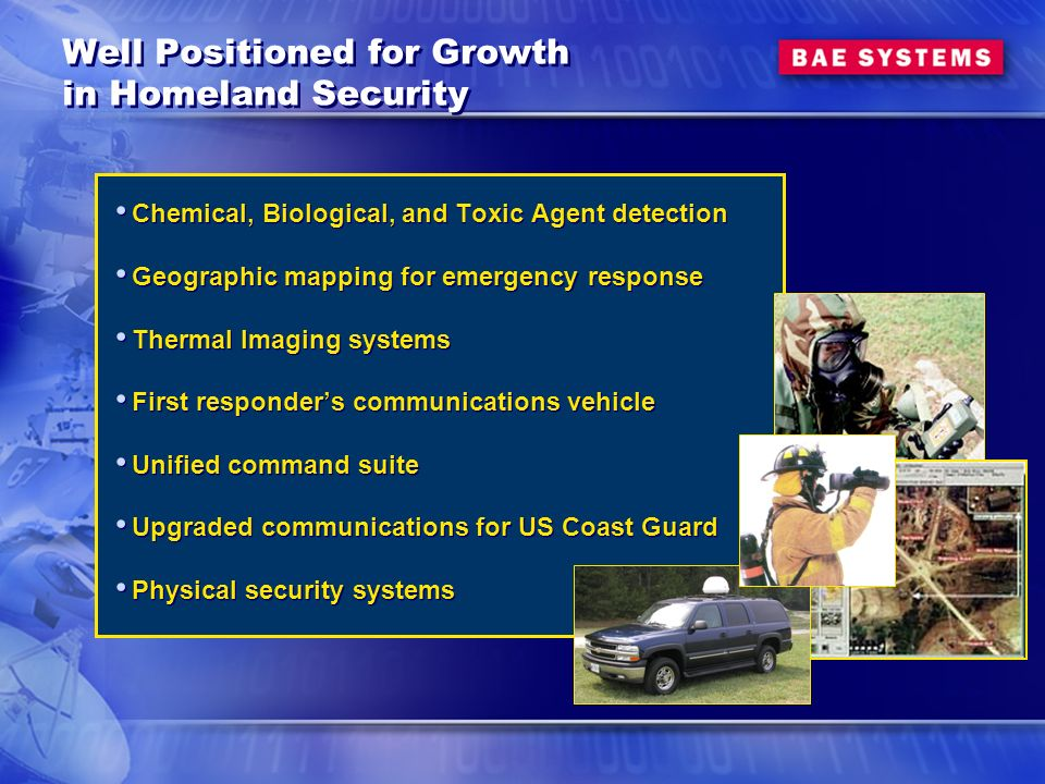 Well Positioned for Growth in Homeland Security Chemical, Biological, and Toxic Agent detection Geographic mapping for emergency response Thermal Imaging systems First responders communications vehicle Unified command suite Upgraded communications for US Coast Guard Physical security systems Chemical, Biological, and Toxic Agent detection Geographic mapping for emergency response Thermal Imaging systems First responders communications vehicle Unified command suite Upgraded communications for US Coast Guard Physical security systems