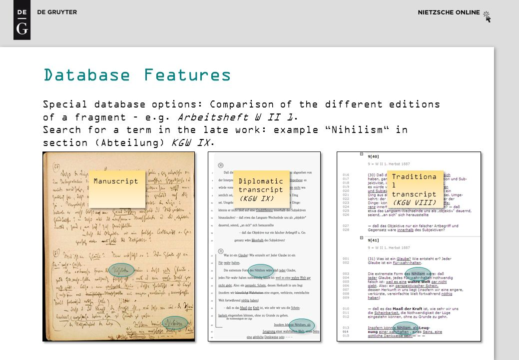 Special database options: Comparison of the different editions of a fragment – e.g. Arbeitsheft W II 1. Search for a term in the late work: example Ni