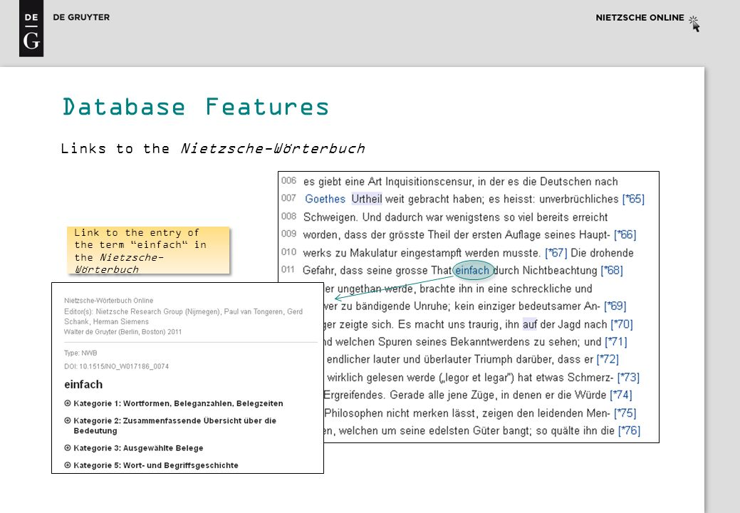 Database Features Link to the entry of the term einfach in the Nietzsche- Wörterbuch Links to the Nietzsche-Wörterbuch