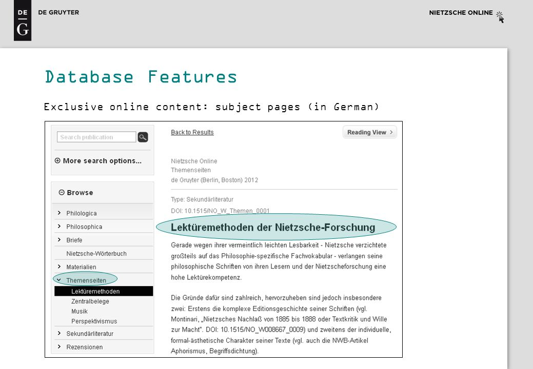 Exclusive online content: subject pages (in German) Database Features
