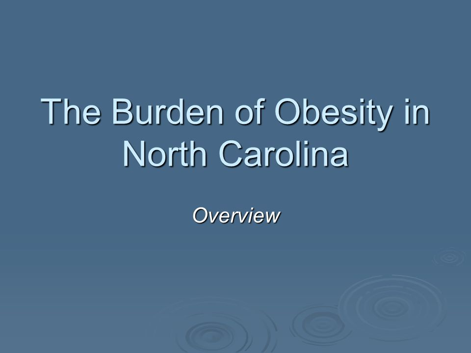 The Burden of Obesity in North Carolina Overview