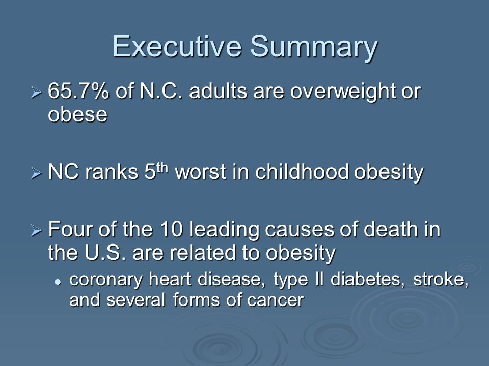 The Burden of Obesity in North Carolina Defining Obesity