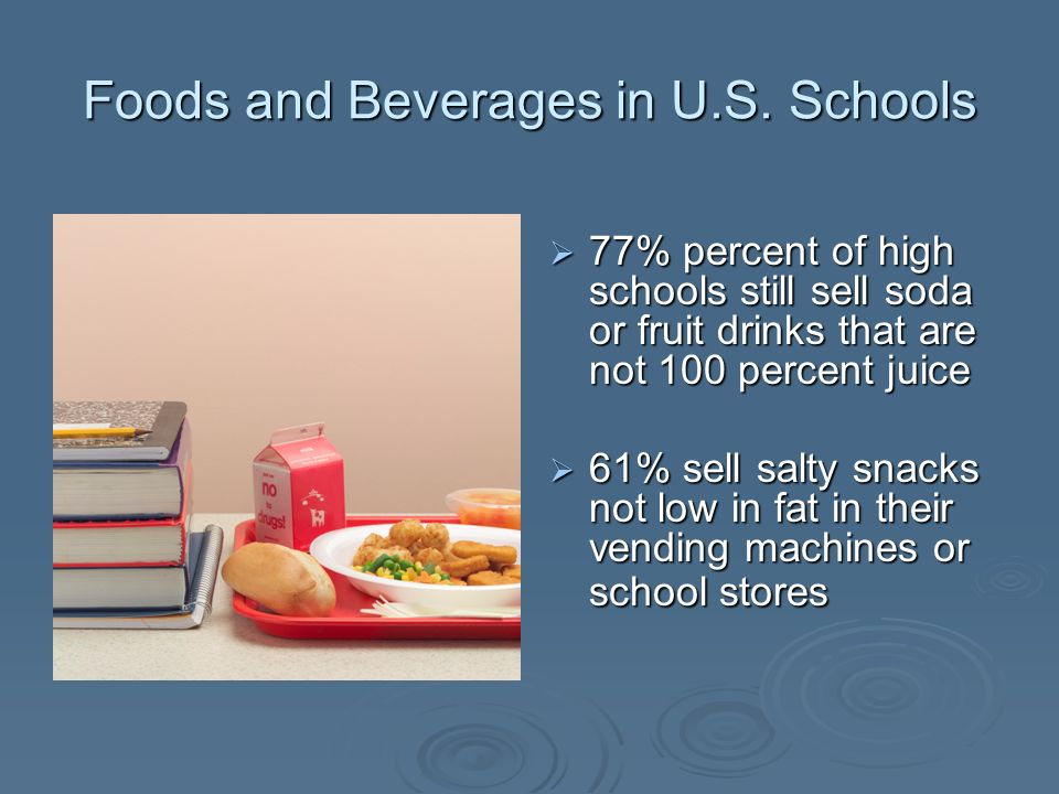 Foods and Beverages in U.S. Schools 77% percent of high schools still sell soda or fruit drinks that are not 100 percent juice 77% percent of high sch