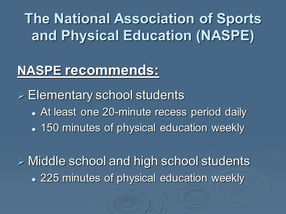 The National Association of Sports and Physical Education (NASPE) NASPE recommends: Elementary school students Elementary school students At least one