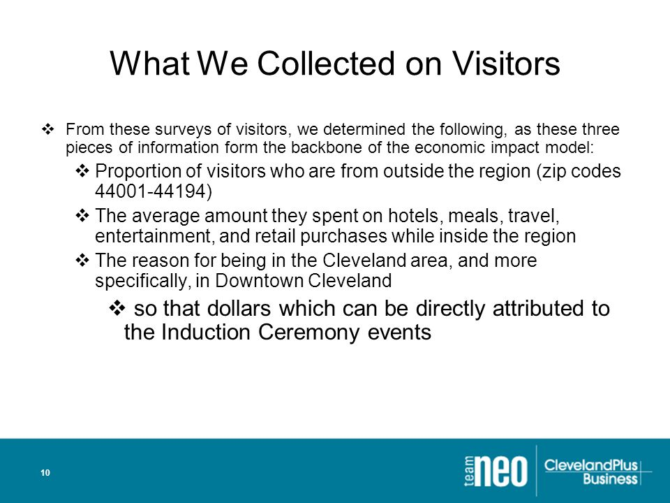 10 What We Collected on Visitors From these surveys of visitors, we determined the following, as these three pieces of information form the backbone of the economic impact model: Proportion of visitors who are from outside the region (zip codes 44001-44194) The average amount they spent on hotels, meals, travel, entertainment, and retail purchases while inside the region The reason for being in the Cleveland area, and more specifically, in Downtown Cleveland so that dollars which can be directly attributed to the Induction Ceremony events