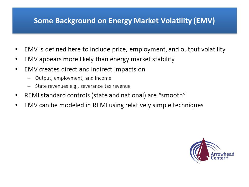 Some Background on Energy Market Volatility (EMV) EMV is defined here to include price, employment, and output volatility EMV appears more likely than