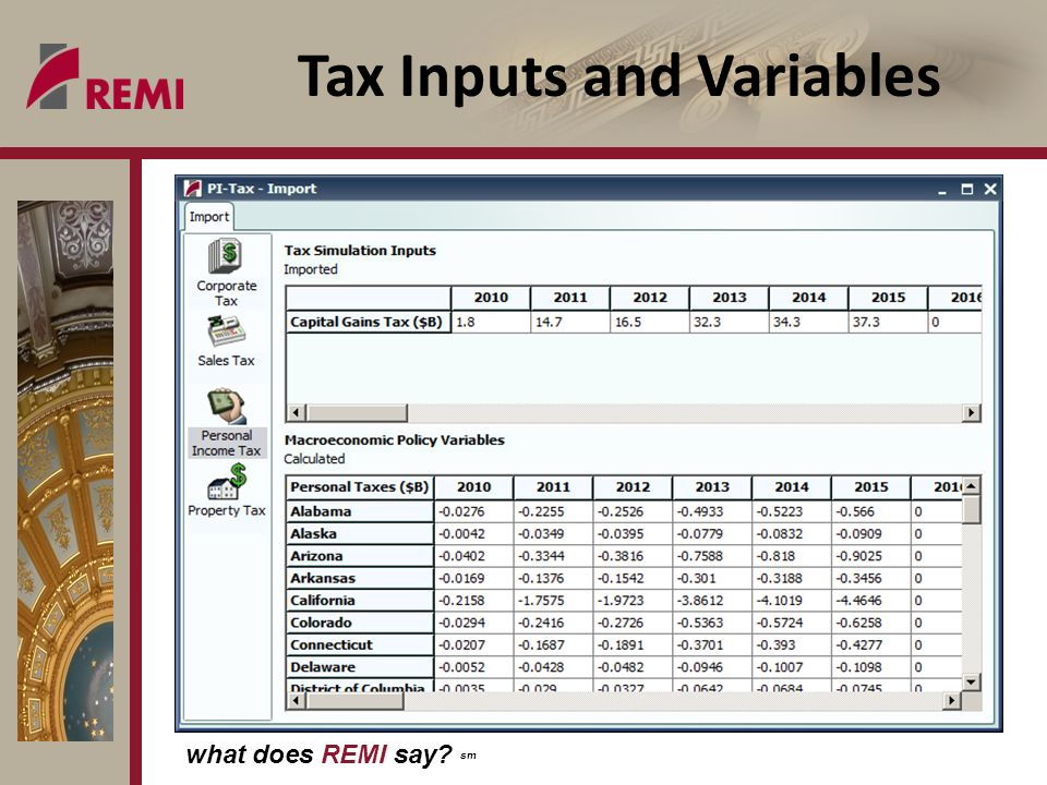 what does REMI say? sm Tax Inputs and Variables
