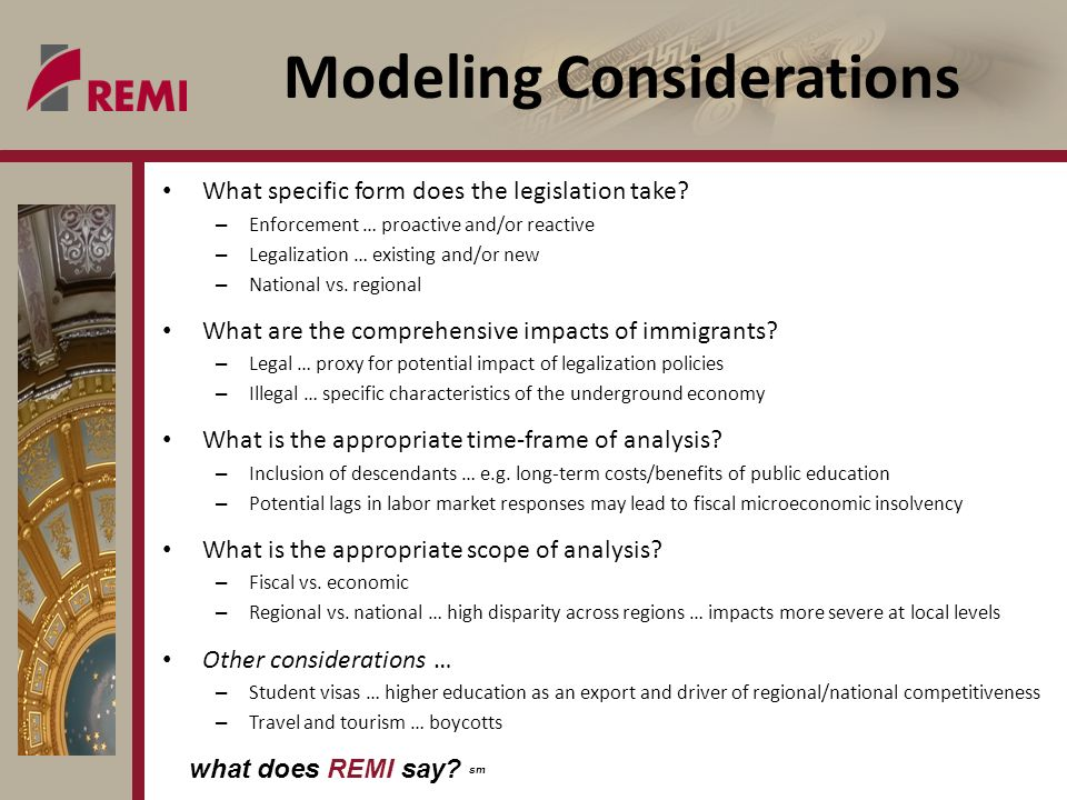 what does REMI say. sm Modeling Considerations What specific form does the legislation take.