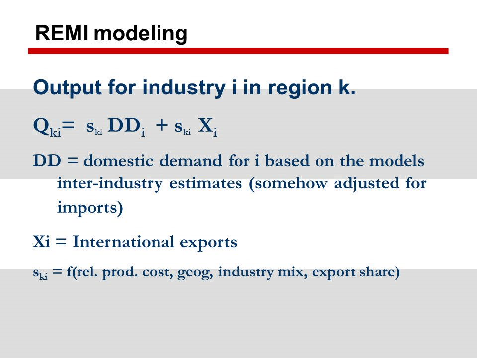 REMI modeling Output for industry i in region k.
