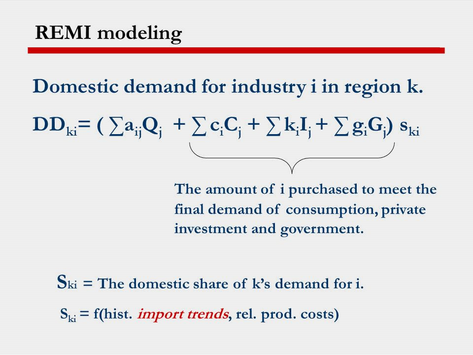 Domestic demand for industry i in region k.