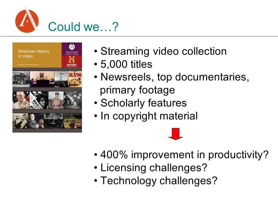 Could we…? Streaming video collection 5,000 titles Newsreels, top documentaries, primary footage Scholarly features In copyright material 400% improve