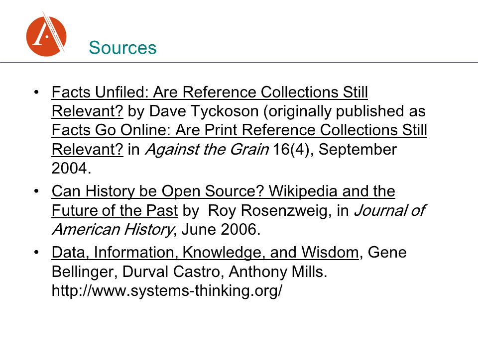 Sources Facts Unfiled: Are Reference Collections Still Relevant.