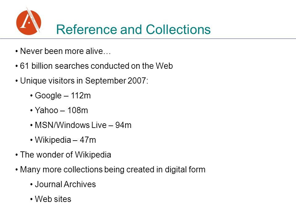Reference and Collections Never been more alive… 61 billion searches conducted on the Web Unique visitors in September 2007: Google – 112m Yahoo – 108m MSN/Windows Live – 94m Wikipedia – 47m The wonder of Wikipedia Many more collections being created in digital form Journal Archives Web sites