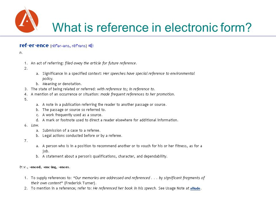 What is reference in electronic form