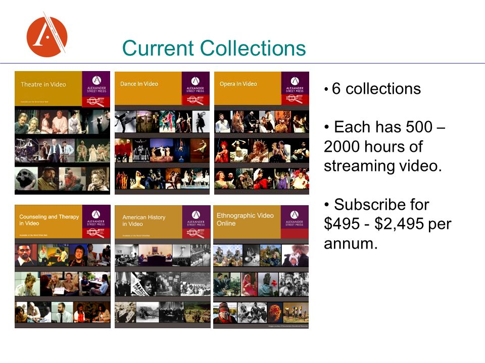 6 collections Each has 500 – 2000 hours of streaming video.