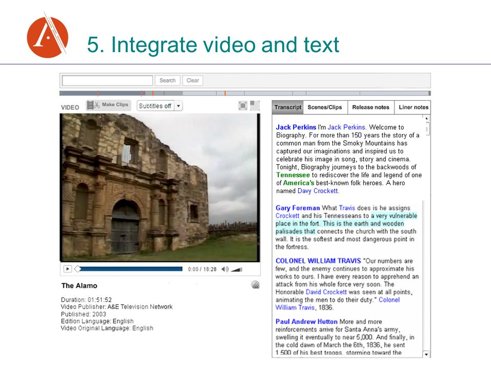 5. Integrate video and text