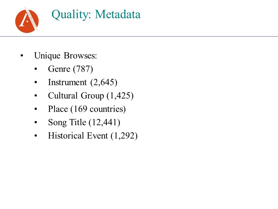Quality: Metadata Unique Browses: Genre (787) Instrument (2,645) Cultural Group (1,425) Place (169 countries) Song Title (12,441) Historical Event (1,292)