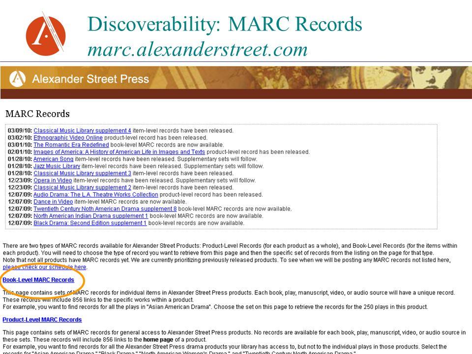 Discoverability: MARC Records marc.alexanderstreet.com