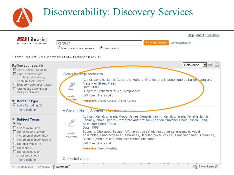 Discoverability: Discovery Services