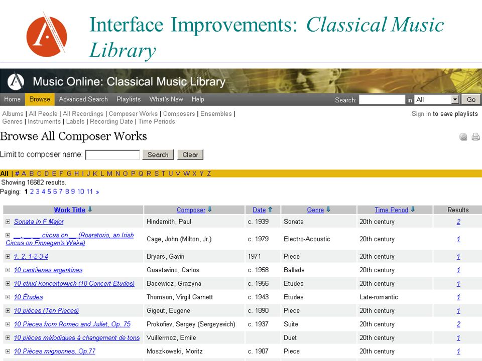 Interface Improvements: Classical Music Library