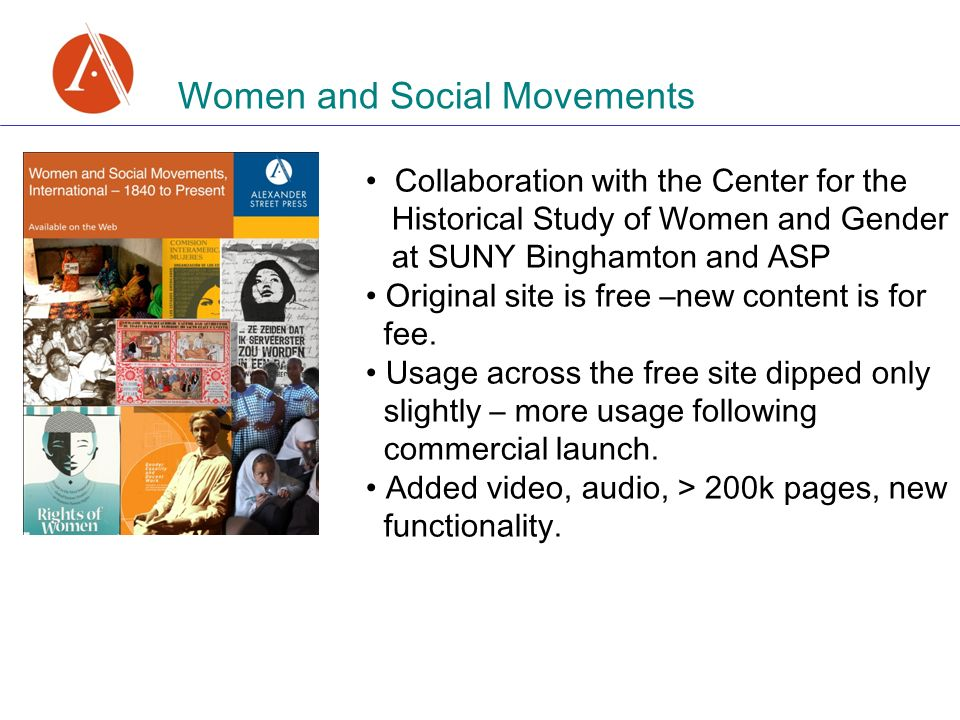 Women and Social Movements Collaboration with the Center for the Historical Study of Women and Gender at SUNY Binghamton and ASP Original site is free