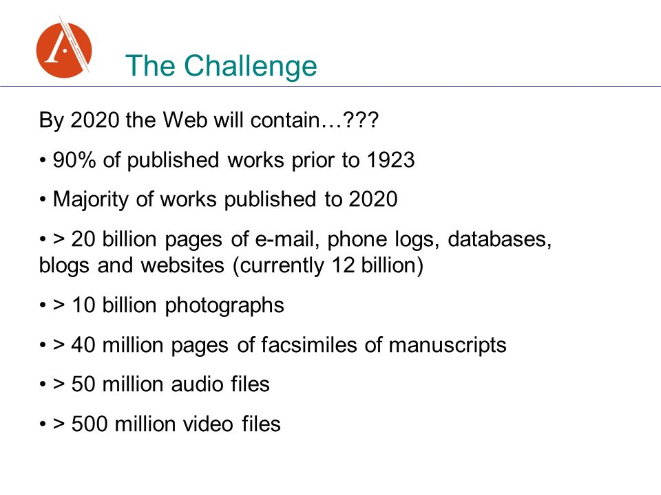 The Challenge By 2020 the Web will contain… .